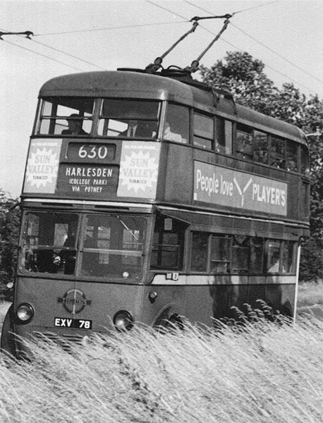Trolleybus crossing Mitcham Common