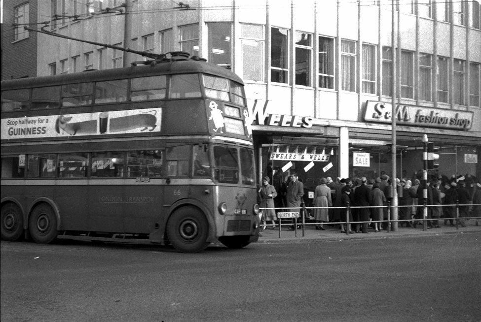 The West Croydon Crossing with a Trolleybus 66 emerging from Station Road