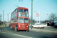 The north-western terminus of trolleybus route 645. A roundabout on the A5 Edware Road 