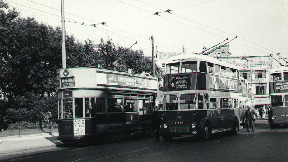 Tram and Trolleybus at the Aquarium Terminus in 1939