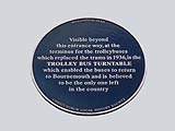 Blue Plaque for Trolleybus Turntable