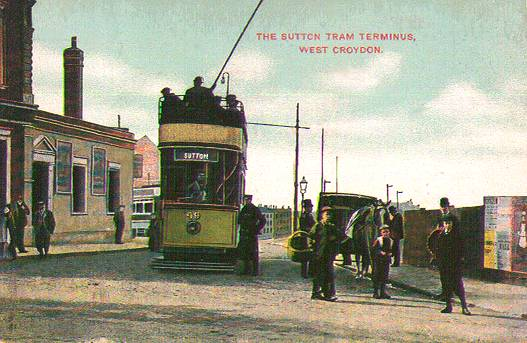 1907 view of SMET tram 49 outside the The Railway Bell Hotel