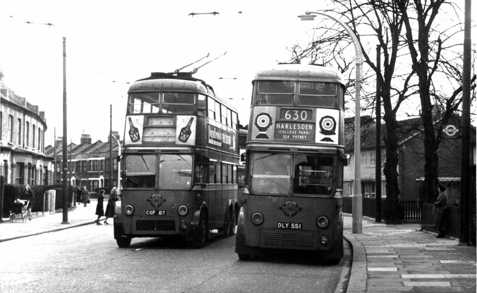 A trolleybus on its way to the scrap yard